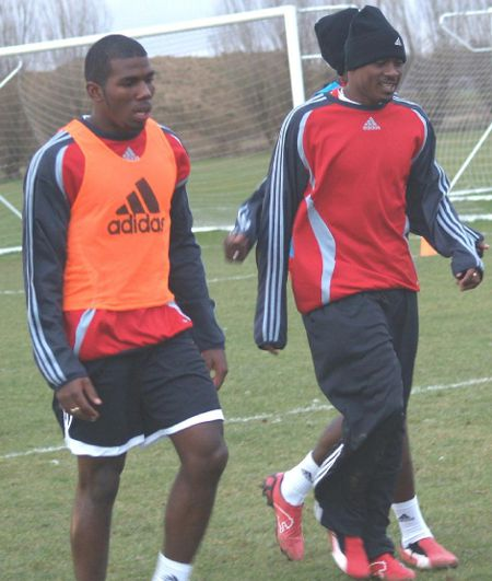 "Photo: Former T&TEC midfielder Kevon Neaves (left) trains with Cyd Gray and the ""Soca Warriors"" prior to the 2006 World Cup. Neaves will line up with Westside Superstarz this season."
