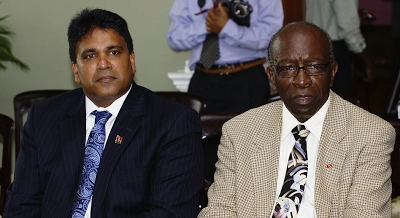 Photo: Roodal Moonilal and his former Cabinet colleague Jack Warner.