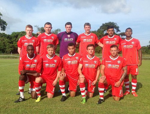 Photo: Central FC attacker Darryl Trim (front row - far left) lined up with Walsall in Tobago. (Courtesy Walsall Facebook page)