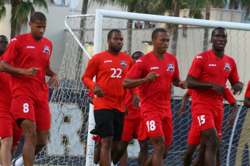 Photo: Soca Warriors (from left) Radanfah Abu Bakr, Cleon John, Densill Theobald and Jamal Gay get ready for their second Group B fixture against Haiti. (Courtesy TTFA Media)