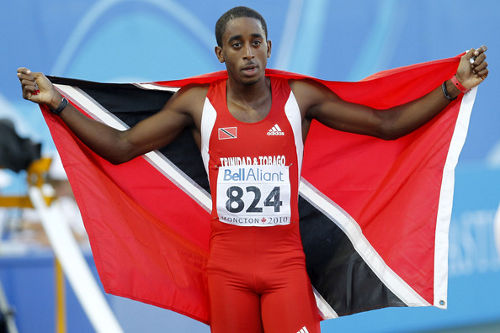 Photo: Trinidad and Tobago track star Jehue Gordon won gold at the 2013 IAAF World Championship in Moscow. (Courtesy Christianstt.com)