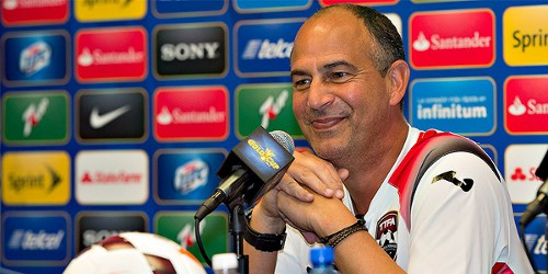 Photo: Trinidad and Tobago coach Stephen Hart takes questions during the 2013 CONCACAF Gold Cup. (Courtesy CONCACAF)