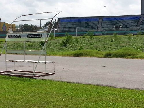 "Photo: Photographs on Facebook painted a unsightly image of the Mannie Ramjohn Stadium in Malabar. (Courtesy ""Scoreboard Trinidad"")"