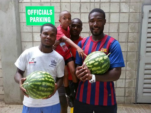 "Photo: The Mannie Ramjohn Stadium is not too good for sport at the moment. Apparently, it's excellent for watermelons though. (Courtesy ""Scoreboard Trinidad"")"