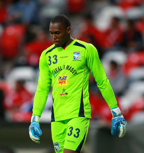 Photo: Caledonia AIA goalkeeper Glenroy Samuel will not want to remember Paolo Suarez's third goal in Port of Spain. (Courtesy Francisco Estrada/JAM Media)