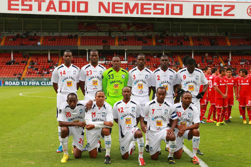 Photo: The Caledonia AIA team poses before facing Toluca in Mexico. Back row (from left): Jamaal Smith, Jamal Gay, Glenroy Samuel, Nuru Muhammad, Aubrey David and Keyon Edwards. Front row: Noel Williams, Densill Theobald, Kareem Joseph, Stephan David and Andre Toussaint. (Courtesy Francisco Estrada/JAM MEDIA)