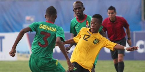 Photo: Jamaica whipped Grenada 4-0 in its opening CONCACAF group match in the Cayman Islands. There are 18 Caribbean nations participating at the competition. (Courtesy CONCACAF)