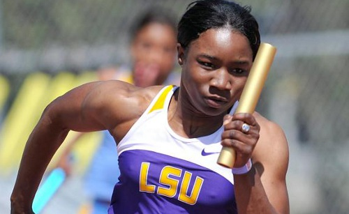 Photo: Trinidad and Tobago sprinter Semoy Hackett competes for the Louisiana State University (LSU).