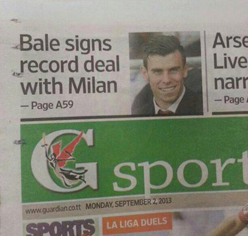 Photo: Gareth Bale must be rubbish... The Trinidad Guardian expects Real Madrid to loan him straight out to AC Milan.