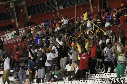 Photo: Point Fortin Civic fans erupt at the Hasely Crawford Stadium. (Courtesy Allan V. Crane/Wired868)