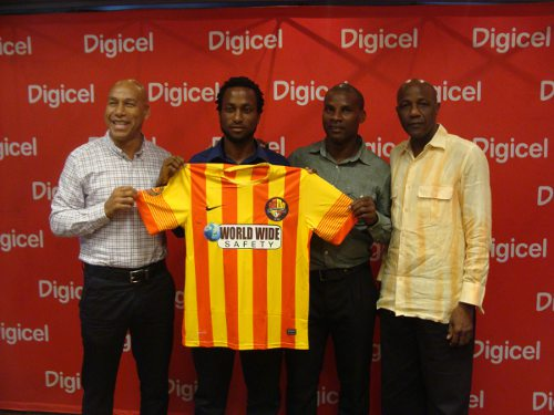 Photo: Point Fortin FC members (from left to right) manager Ken Mc Cree, captain Kelvin Modeste, coach Reynold Carrington and technical director Steve David. (Courtesy Pro League)