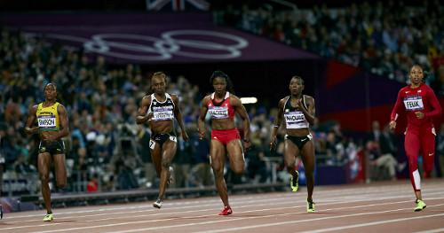 Photo: Trinidad and Tobago sprinter Semoy Hackett (third from right) during the London 2012 Olympics.