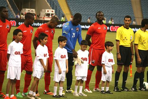 Photo: The Trinidad and Tobago national football team prepares to face the United Arab Emirates at the OSN Cup. (Courtesy TTFA Media)