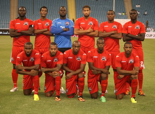 Photo: The Trinidad and Tobago senior team to face the UAE: (back row from left) Kenwyne Jones, Ataullah Guerra, Jan-Michael Williams, Radanfah Abu Bakr, Robert Primus and Aubrey David. (Front row from left) Khaleem Hyland, Lester Peltier, Justin Hoyte, Marcus Joseph and Andre Boucaud. (Courtesy TTFA Media)
