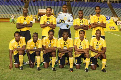 Photo: Akini Adams (back row third from left) and Akeem Adams (front row far left) played together for T&TEC FC in the local Pro League.