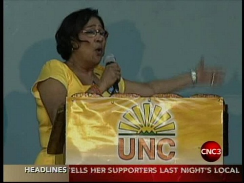 Photo: Prime Minister Kamla Persad-Bissessar gets a buzz from the local government election results.