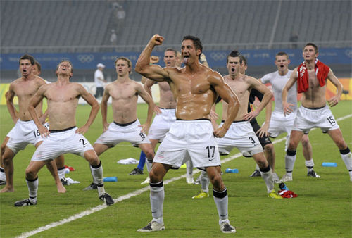 Photo: The New Zealand football team performs a haka before an international fixture.