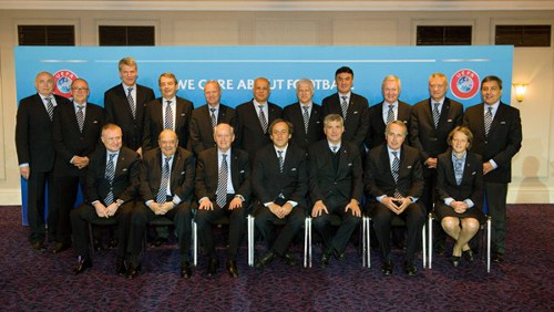 Photo: UEFA president Michel Platini (centre of the front row) and the rest of his executive committee. (Courtesy UEFA.com)