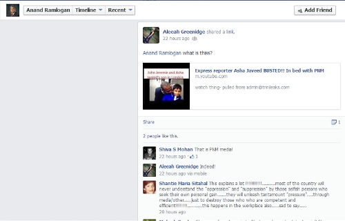 Photo: Can someone tell Anand Ramlogan's mom know what he has been up to on Facebook?