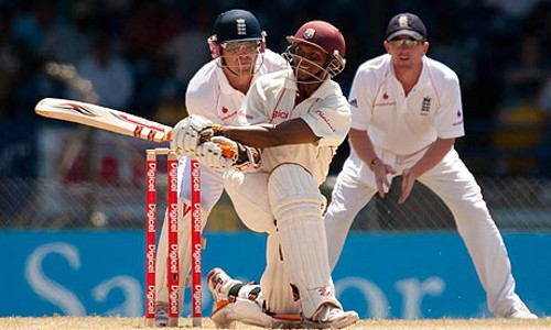 Photo: West Indies batsman Shivnarine Chanderpaul in full flight. (Courtesy Guardian.com)