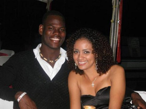 Photo: Trinidad and Tobago goalkeeper Jan-Michael Williams (left) and his fiancee Candice Worrell.