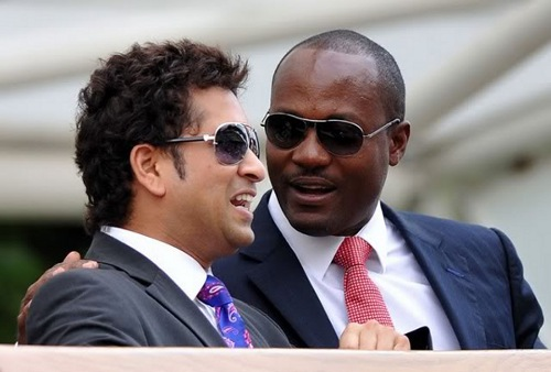 Photo: World cricket legends Sachin Tendulkar (left) and Brian Lara.