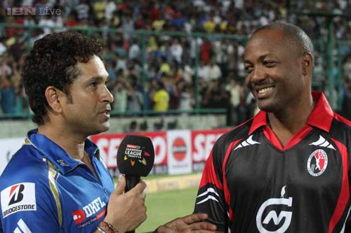 Photo: Indian cricket great Sachin Tendulkar (left) and West Indian legend Brian Lara.