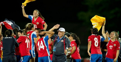 Photo: The Costa Rica national under-20 women's team celebrates a stunning triumph over Trinidad and Tobago. (Courtesy CONCACAF.com)