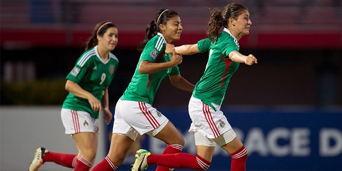 Photo: Mexico defender Paulina Solis (far right) races away to celebrate her goal with teammates. (Courtesy MexSport/CONCACAF)