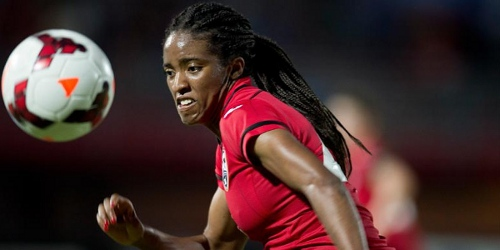 Photo: Trinidad and Tobago midfielder Brianna Ryce gave an impressive individual performance against Honduras yesterday. (Courtesy CONCACAF)