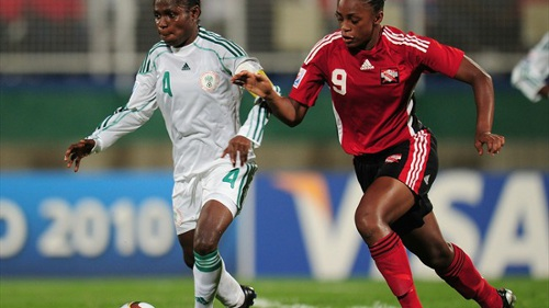Photo: Trinidad and Tobago national youth team attacker Liana Hinds (right) challenges Nigeria player Oluchi Ofoegbu during the 2010 Under-17 Women's World Cup. (Courtesy FIFA.com)