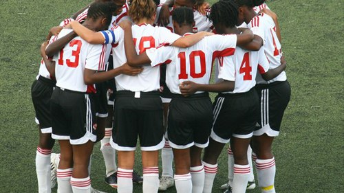 Photo: The Trinidad and Tobago national under-17 women's team shares a moment during the 2010 Under-17 World Cup. Nine 2010 World Cup players are in the T&T squad today to face Honduras in a 2014 Under-20 World Cup qualifier. (Courtesy FIFA.com)