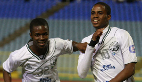 Photo: W Connection attackers Dimitrie Apai (left) and Joevin Jones. (Courtesy TT Pro League)