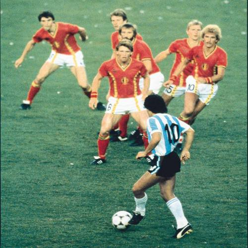 Photo: Argentina captain Diego Maradona bewitches half of the Belgian team during the 2006 World Cup.