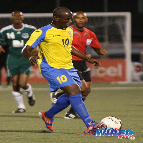 Photo: Defence Force striker Devorn Jorsling failed to get on the score sheet last night as the army/coast guard combination lost 2-0 to Alpha United in Jamaica. (Courtesy Wired868)