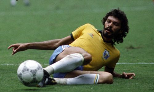 Photo: Late Brazil football icon Socrates was nigh unstoppable; even off his feet.