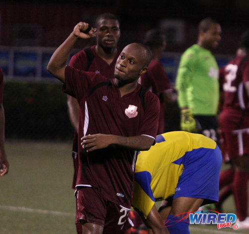 Photo: North East Stars utility player Kennedy Hinkson got the winner against St Ann's Rangers. (Courtesy Wired868)