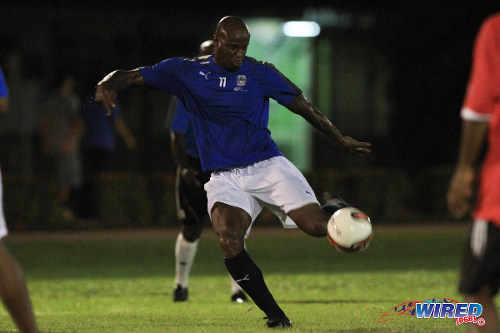 "Photo: Former ""Strike Squad"" star Leonson Lewis goes for goal during the 2014 Wired868 Football Festival. (Courtesy Allan V Crane/ Wired868)"