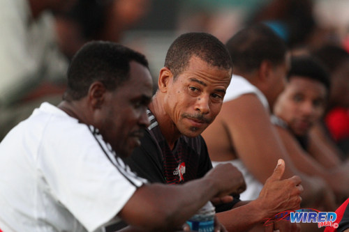 Photo: Pro League CEO Dexter Skeene (right) is in deep conversation with former Trinidad and Tobago standout Ron La Forest at the inaugural Wired868 Football Festival in 2013. (Courtesy Allan V Crane/ Wired868)