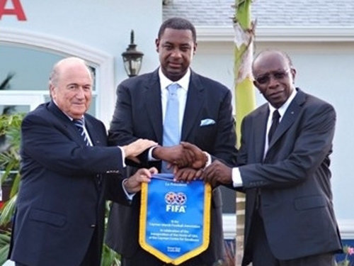 Photo: Disgraced former CONCACAF president Jeffrey Webb (centre) with his predecessor Jack Warner (right) and outgoing FIFA president Sepp Blatter during happier times for the trio. Warner and Webb have both been indicted for racketeering by the US Department of Justice while Blatter was suspended by FIFA.