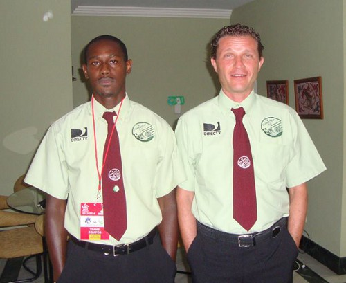 Photo: W Connection technical staff member Stefano Monti (right) and player Silvio Spann.