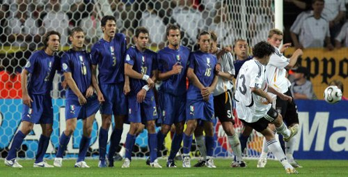 Photo: Germany midfielder Michael Ballack (second from right) tries to get his free kick past a wall of Italian defenders during the 2006 World Cup. (Copyright AFP 2014/Roberto Schmidt)