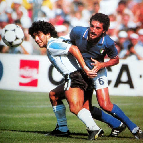 Photo: Italian hardman Claudio Gentile (right) stays close to Argentina star Diego Maradona during the 1982 World Cup.
