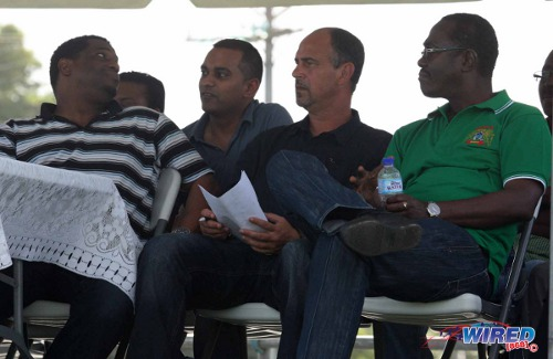 Photo: Former UNC councillor Raymond Cozier (far right) watches Guaya play in the Super League alongside Trinidad and Tobago seniorfootball team head coach Stephen Hart (second from right), TTFA general secretary Sheldon Phillips (far left) and TTFA press officer Shaun Fuentes. A love for sport is not the only thing Cozier has in common with the Sport Minister. (Courtesy Wired868)
