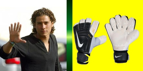 Photo: A doctored photograph of Mexico goalkeeper Guillermo Ochoa... He really has six arms!