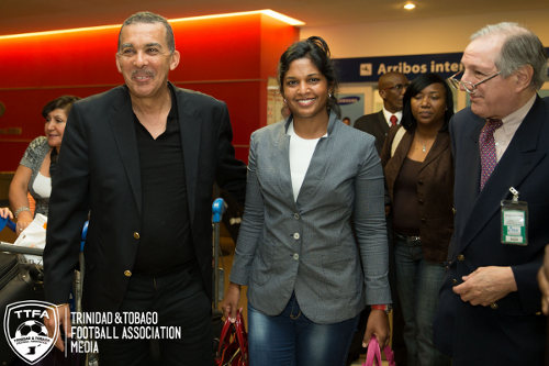 Photo: Trinidad and Tobago President Anthony Carmona (left) and his wife Reema Harrysingh-Carmona (centre) arrive in Argentina. (Courtesy Allan V Crane/TTFA)