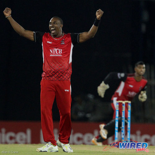Photo: Howzat?! Trinidad and Tobago Red Steel captain Dwayne Bravo celebrates a big scalp. (Courtesy Allan V Crane/Wired868)