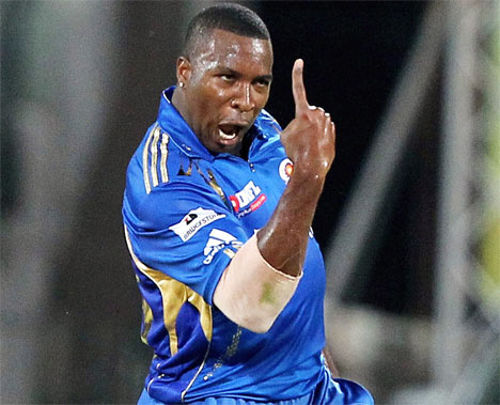Photo: Trinidad and Tobago batsman Kieron Pollard gets excited while on duty for the Mumbai Indians.