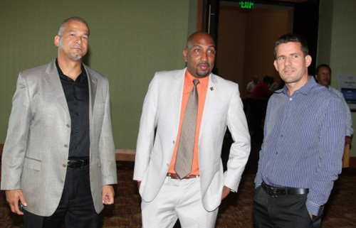 Photo: Former Sport Minister Anil Roberts (centre), ex-SPORTT Company CEO John Mollenthiel (left) and former SPORTT chairman Sebastien Paddington. The three men were key figures in the controversial Life Sport fiasco. (Courtesy SPORTT)