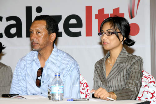 Photo: Caryl Keller (left) is the special advisor to the Minister of Sport. (Courtesy Gov.tt)